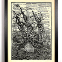 Image of Monstrous Octopus, Vintage Dictionary Print, 8 x 10