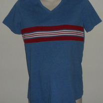 Blue Shirt with Red/White Stripe-Due Date Size Medium