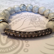 Gunmetal Sideways Bar Cross and White Agate Beads