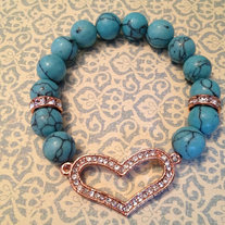Turquoise Beads with Rose Gold Heart