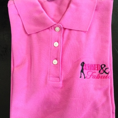Armed and fabulous pink polo