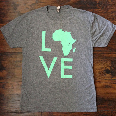 Love africa tee (grey/mint)