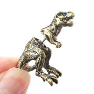 Unique Fake Gauge 3D Tyrannosaurus Rex Dinosaur Shaped Animal Stud Earring In Bronze | Sold Per Piece