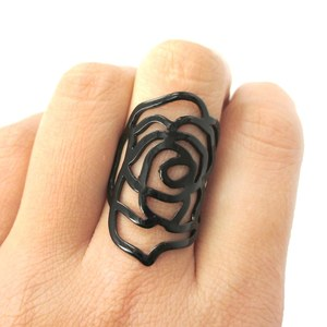 Large Rose Floral Cut Out Statement Ring in Black in Sizes 6 and 7