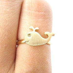 Cute Simple Whale Animal Adjustable Ring in Gold