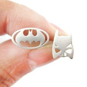 Batman Mask and Logo Shaped Silhouette Allergy Free Stud Earrings in Silver