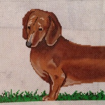 Two Part Dachshund Canvas on 13 mesh