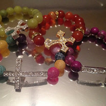 Rainbow Sideways Cross Bracelet