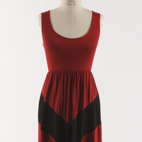 Colorblock Crimson Red & Black Short Tank Chevron Stripe Maxi Dress
