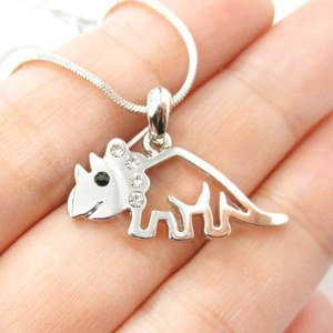 Dinosaur Outline Prehistoric Triceratops Pendant Necklace in Silver