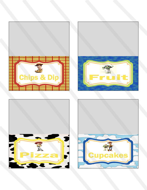 Disney Pixar Toy Story Birthday Party Food Tent Cards Labels  sc 1 st  Kritts Kreations - Storenvy & Disney Pixar Toy Story Birthday Party Food Tent Cards Labels ...