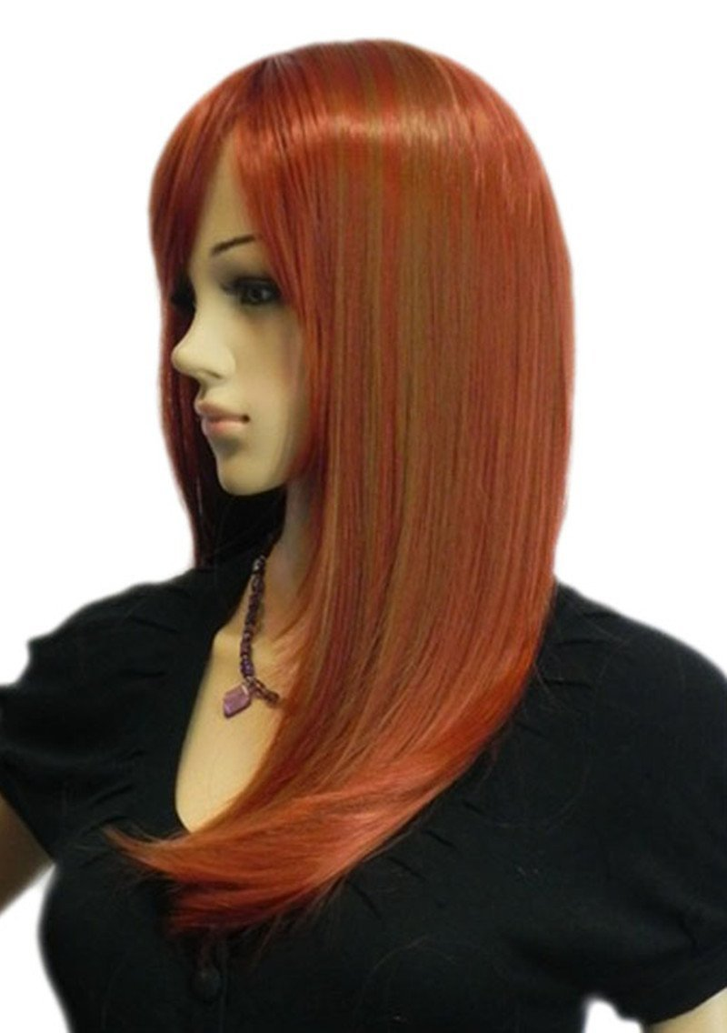 Anime Long Medium Straight Fibre Synthetic Hair Wine Red