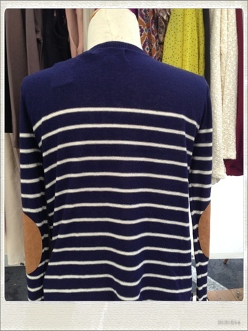 Striped Sweater with Elbow Patches (Black OR Navy Blue) · Frans ...