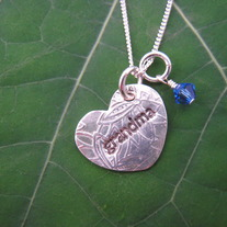 Grandma Heart Necklace with 1 Birthstone
