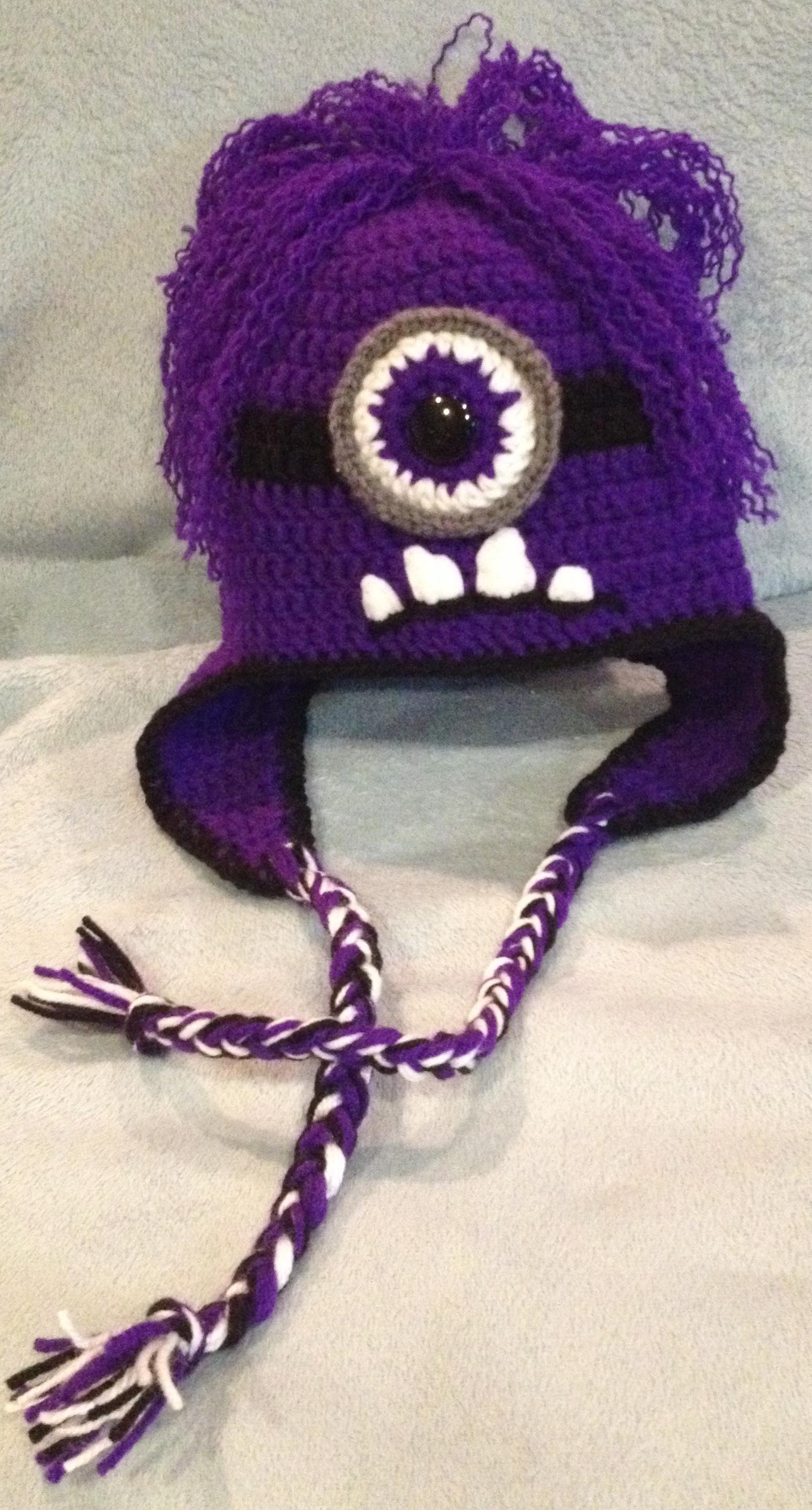 Free Crochet Pattern For Minion Hat With Ear Flaps : Super Cute Child S One Eye Evil Minion Hat Beanie W Ear ...