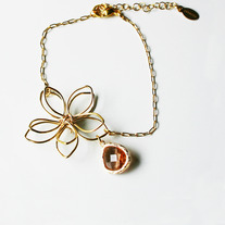 Flower Wire Bracelet - Silver or Gold Custom Color Choice