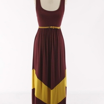 GAME DAY Colorblock Burgundy Gold Long Chevron Stripe Maxi Dress
