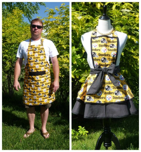 Pittsburgh Steelers His & Her Apron Set, Wedding Gifts