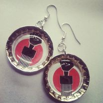 Red & Black Afro Pick Earrings
