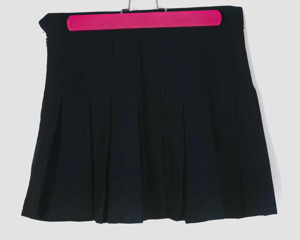 free shipping navy blue pleated high waist preppy