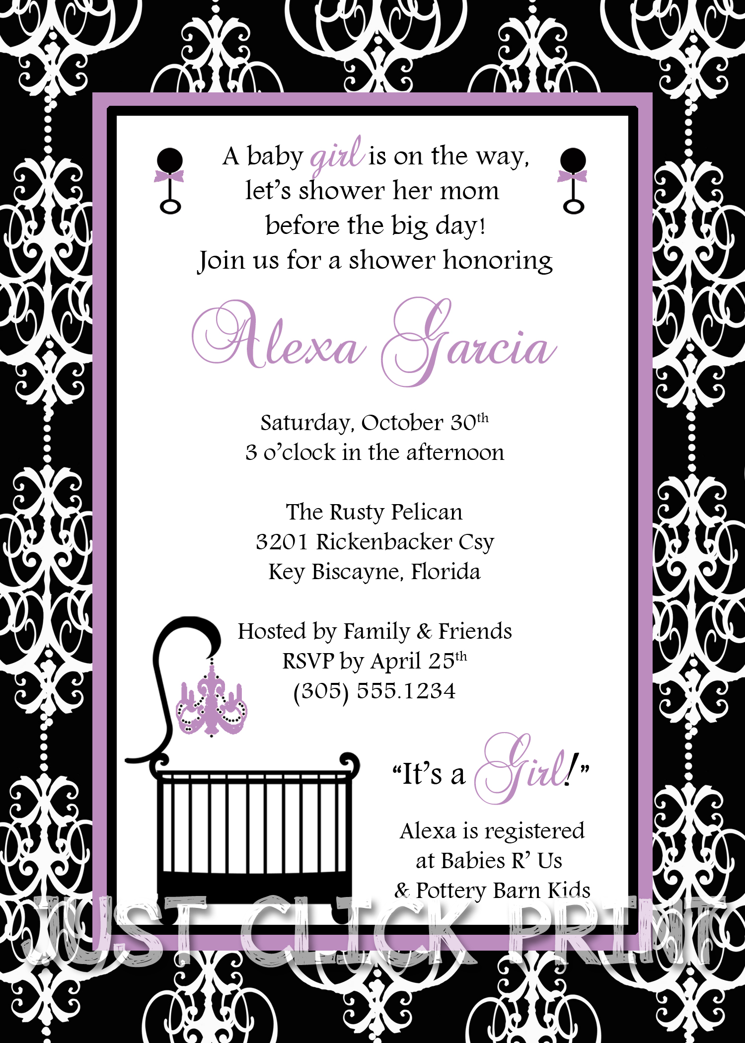 classic damask baby girl shower invitation printable any color, Baby shower