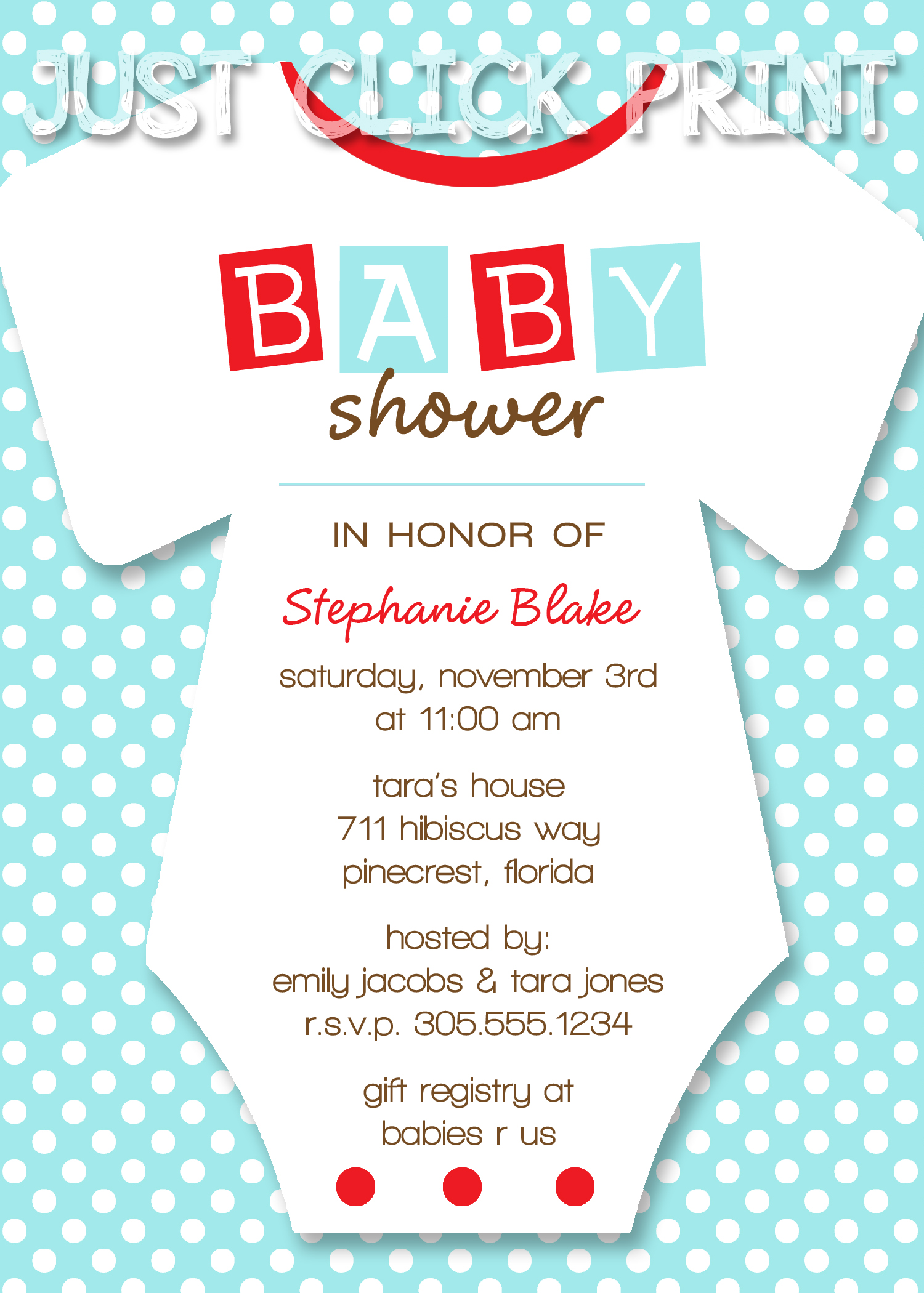 Onesies Baby Shower Invitation Printable Any Color · Just Click ...
