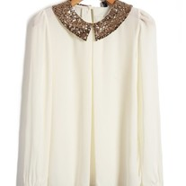 White blouse with sequin collar