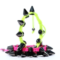 Pink with Black Spikes Bracelet