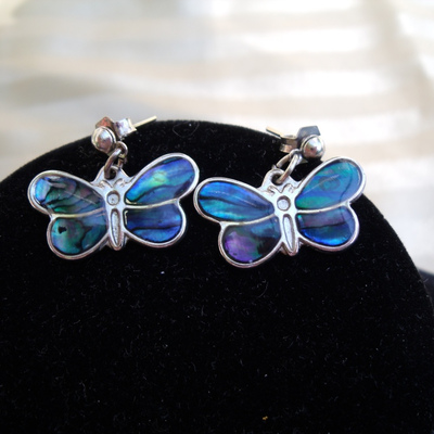 Shell butterfly pierced earrings so 80's