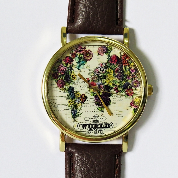 the world in full bloom map floral watch vintage style leather the world in full bloom map floral watch vintage style leather watch women watches mens watch boyfriend watch world map · forme · online store