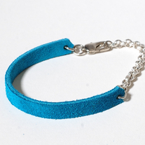 Delicate suede white copper chain in turquoise blue
