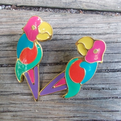 Parrot earrings enamelled from the 80's