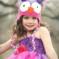 Purple and Pink Owl Handmade Crochet Girls Hat