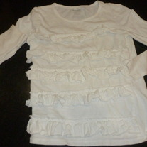 White Long Sleeve Shirt with Ruffles-Old Navy Size 8
