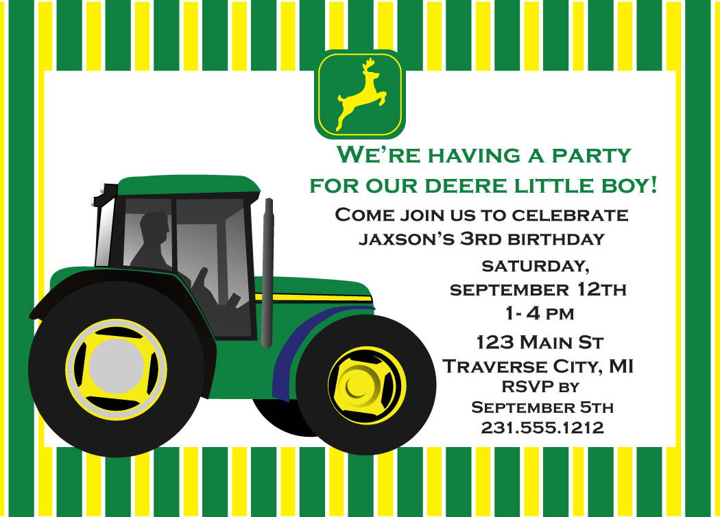 John Deere Invitation Printable John Deere Birthday Invitation for