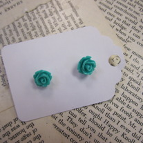 Rose Bud Earrings - Teal