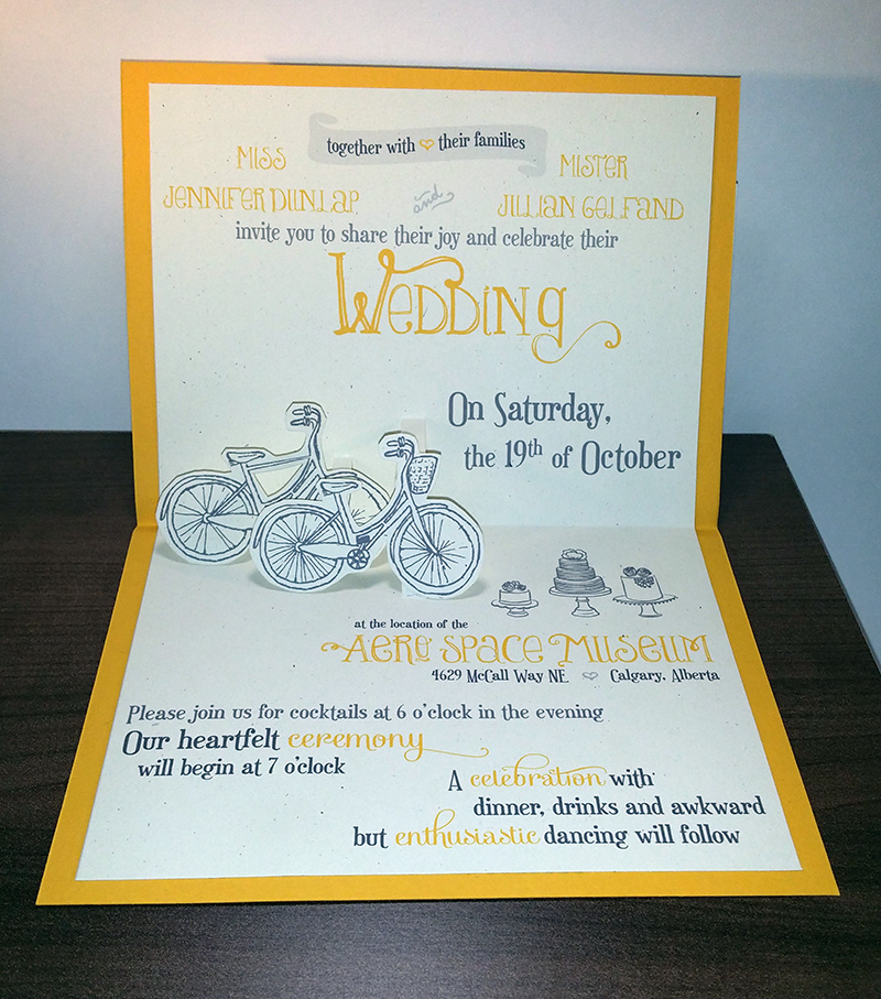 Bicycle Pop-up Wedding Invitation || Printed Copy on Storenvy