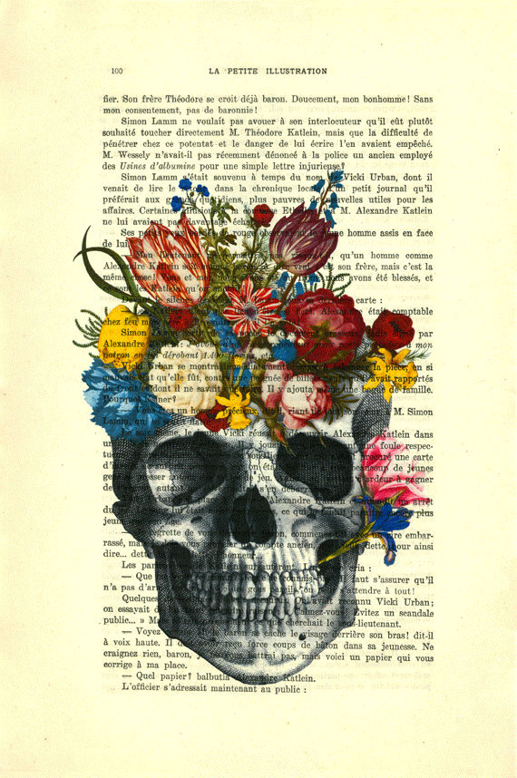 skull with colorful flowers - human skull art, human anatomy ...