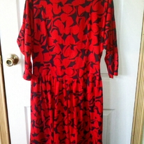 Bedford Fair Red and Black Patterned Dress Sz 16