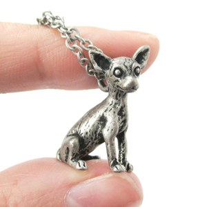 3D Realistic Chihuahua Animal Charm Dog Lover Themed Necklace in Silver