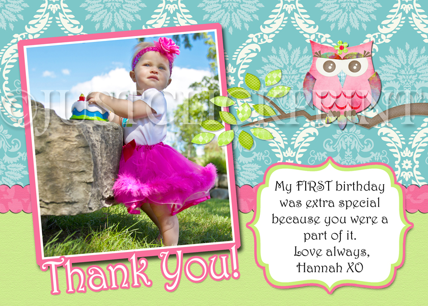 Shabby Chic Owl Birthday Photo Thank You Card Just Click Print
