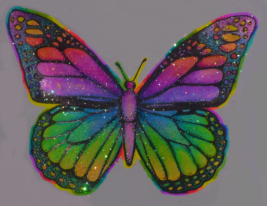 flower glittery psychedelic butterfly sticker online store powered by storenvy. Black Bedroom Furniture Sets. Home Design Ideas