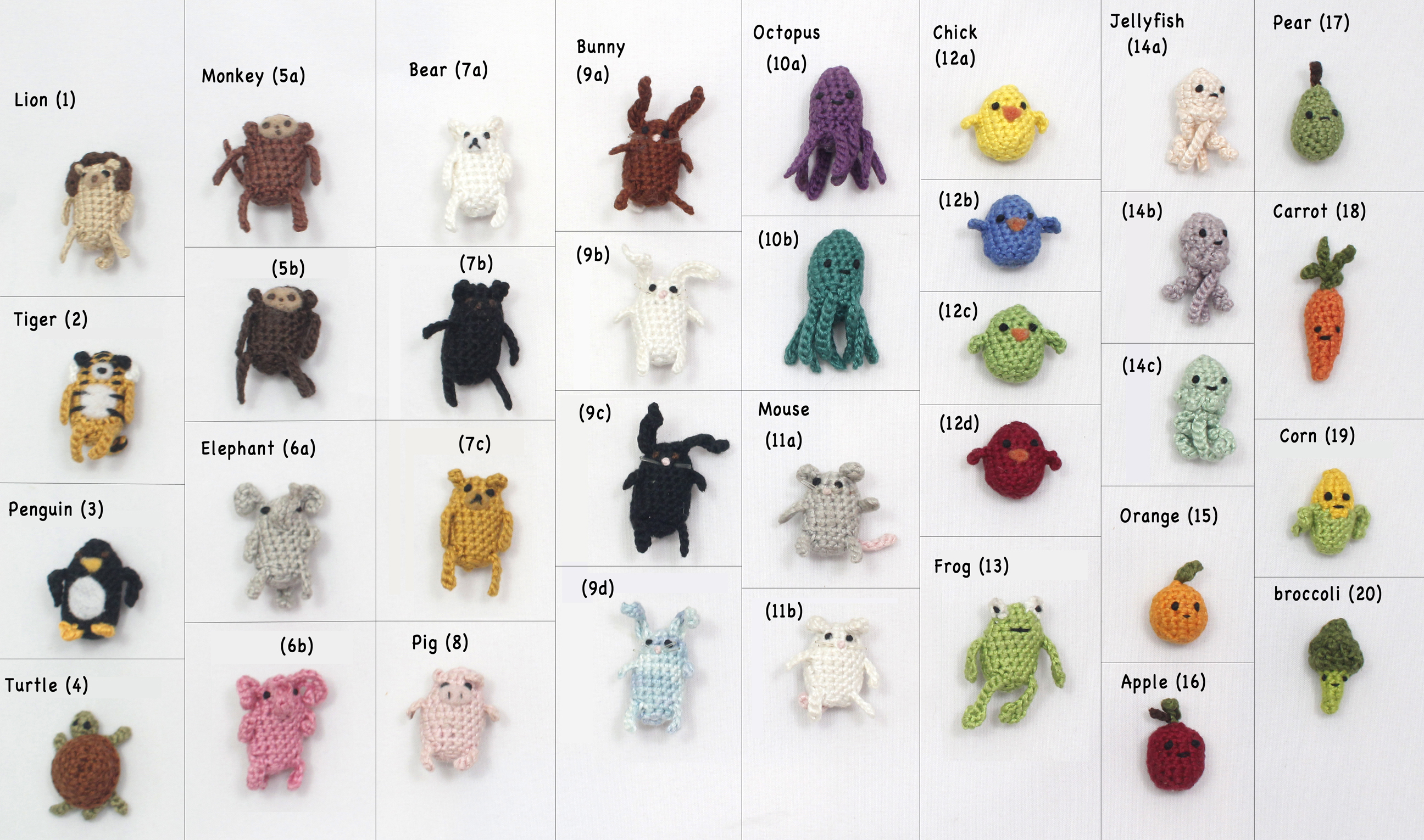create your own miniature crochet amigurumi critter magnet set of