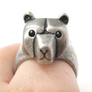 Adjustable 3D Polar Bear Animal Wrap Around Cute Ring in Matte Silver