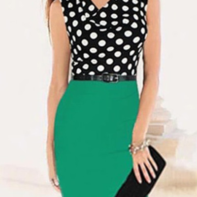 Polka dot red and black dress