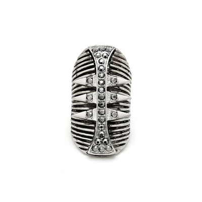 Warrior spiked shield ring - silver
