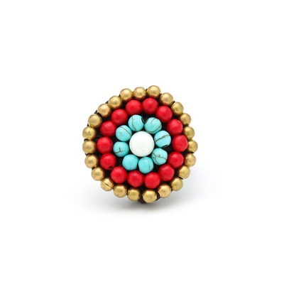 Beaded boho ring - multicolored