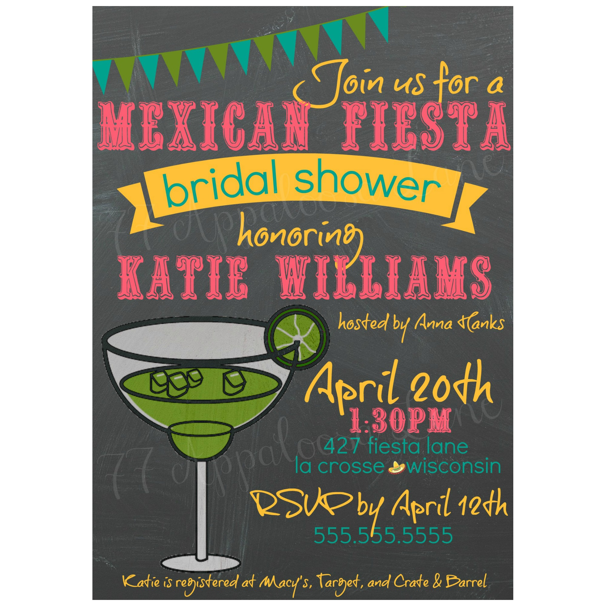 mexican fiesta bridal shower invitation