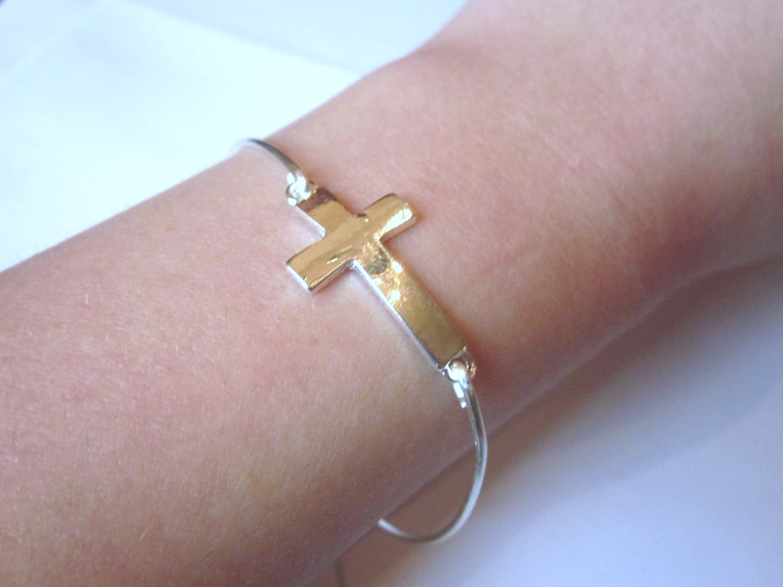 Sideways Cross Bangle Bracelet Cross Bangle Bracelet