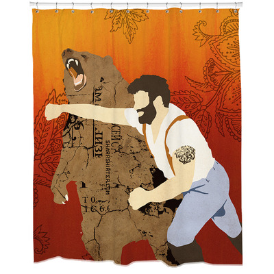 Haymaker bear punch shower curtain